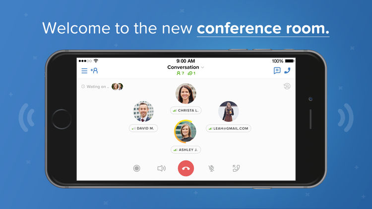 Image of a Conference Calling App In Blue Background with the Text of Welcome To New Conference Call Room.