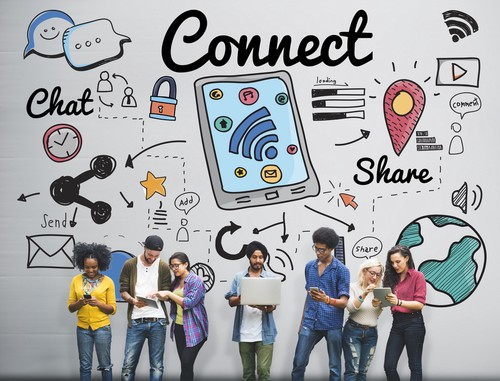 Image of People Connecting and Sharing in Social Media.