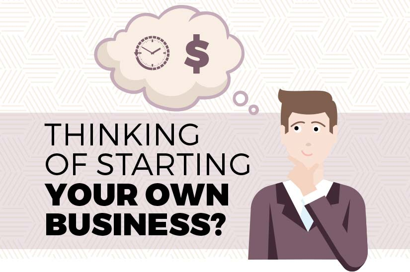 Illustrated Image of a Man Thinking in a Light Background with the text that Thinking of Starting your own business
